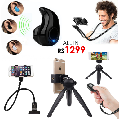All in Rs1299 - Mobile Charger Wall Hanger + Mini Bluetooth V8 + 19.5 cm Tripod Stand + Neck Holder