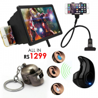 All in Rs1299 - Screen Enlarger + Mini Bluetooth V8 + Snake Stand + PUB G Keychain