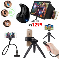 All in Rs1299 - Screen Enlarger + Mini Bluetooth V8 + Snake Stand + TriPod