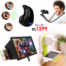 All in Rs1299 - Screen Enlarger + Mini Bluetooth V8 + Snake Stand + Mobile Wall Holder