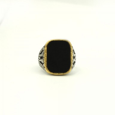 GOLD Bordered Matte Black Stone Ring