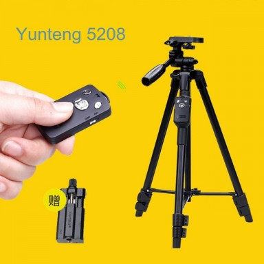 5208 Aluminum Tripod with 3-Way Head & Bluetooth Remote + clip for Camera Phone