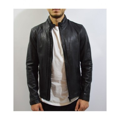Black Mays & Rose original Sheep Leather Jacket With Double Zip For Men