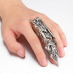 Long Rings for Men Finger Jewelry Punk Alloy Silver Big Ring