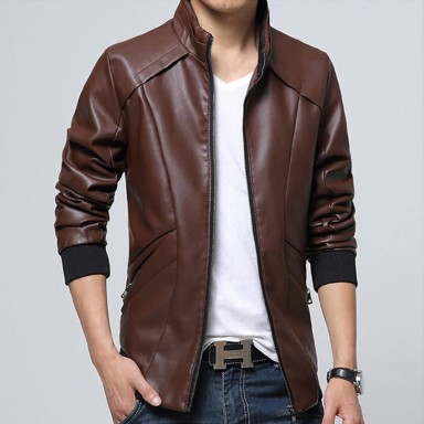 2018 New Stylish Business Class Leather Jacket Brown