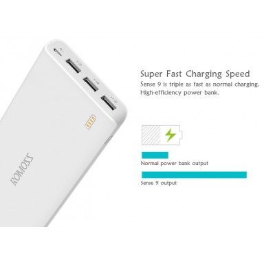 25000mAh ROMOSS Sense External Battery Pack Power Bank 3 USB Port Charger for nokia lumia bateria externa cargador portatil +B