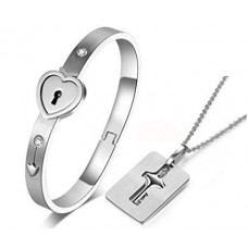 Heart Love Lock Bracelet with Lock Key Pendant-