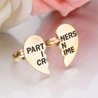 Ring Set Partner in Crime Matching Blue And Silver / Golden  Stainless Steel Couple Heart Ring