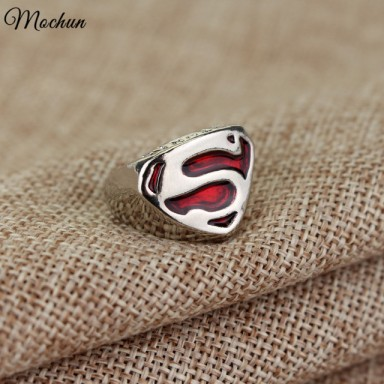 DC Comics Superman Silver Plated Ring Red Enamel