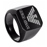 TITANIUM RING MEN BLACK COLOR WITH ARMANI LOGO
