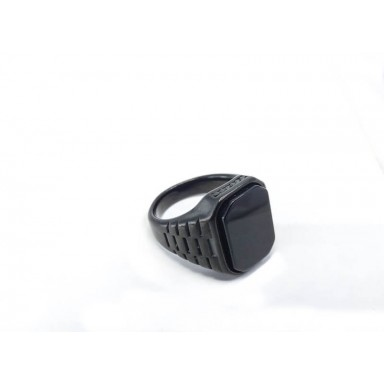 Black Stone Stainless Steel Black Ring